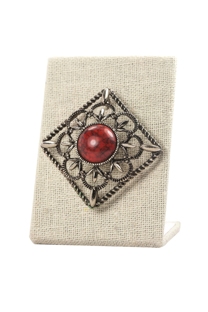 70's__Sarah Coventry__Red Marbled Burst Brooch