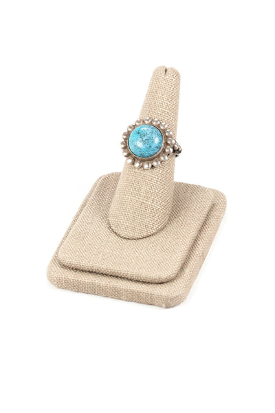 60's__Vintage__Adjustable Sterling Turquoise Ring