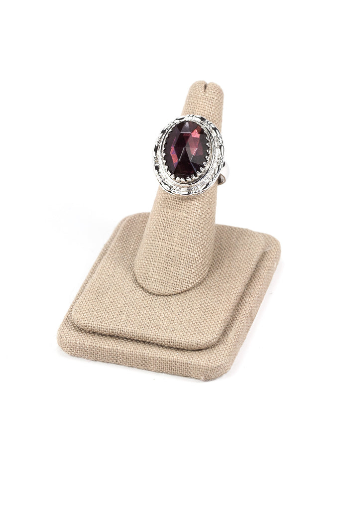 50's__Whiting Davis__Adjustable Statement Amethyst Ring