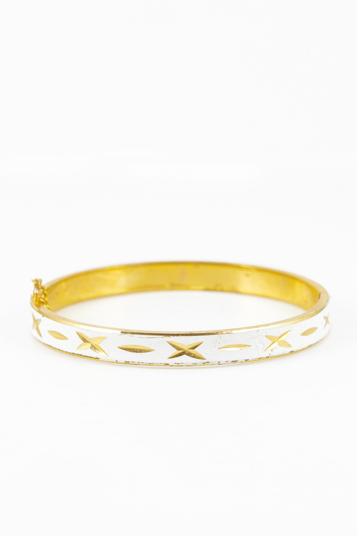 70's__Vintage__Gold X Etched White Bangle