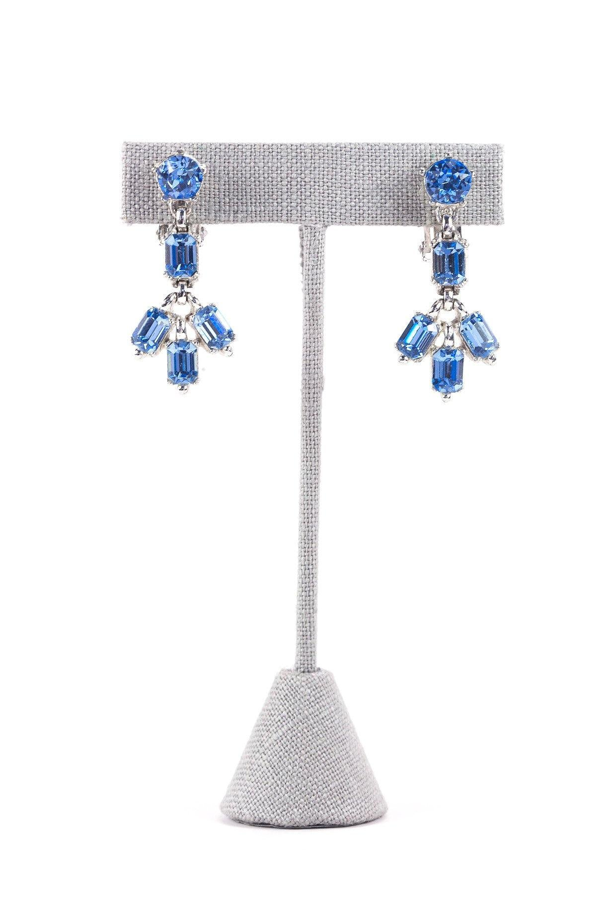 60's__Bogoff__Blue Rhinestone Clip-On Earrings