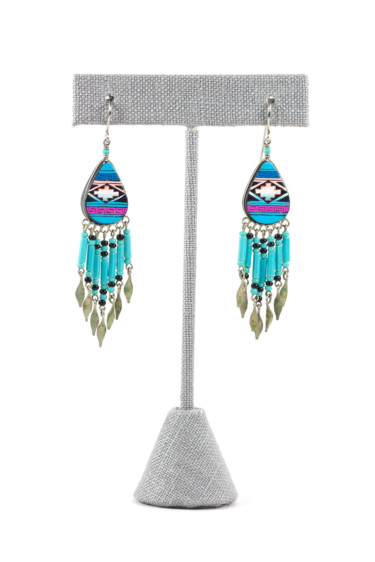 70's__Vintage__Aztec Fringe Clip-on Earrings