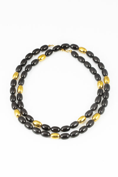 70's__Napier__Black & Gold Beaded Necklace
