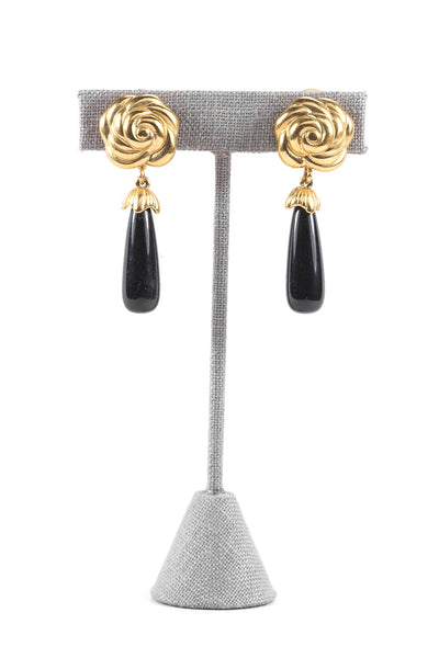 80's__Monet__Black Drop Clip-on Earrings