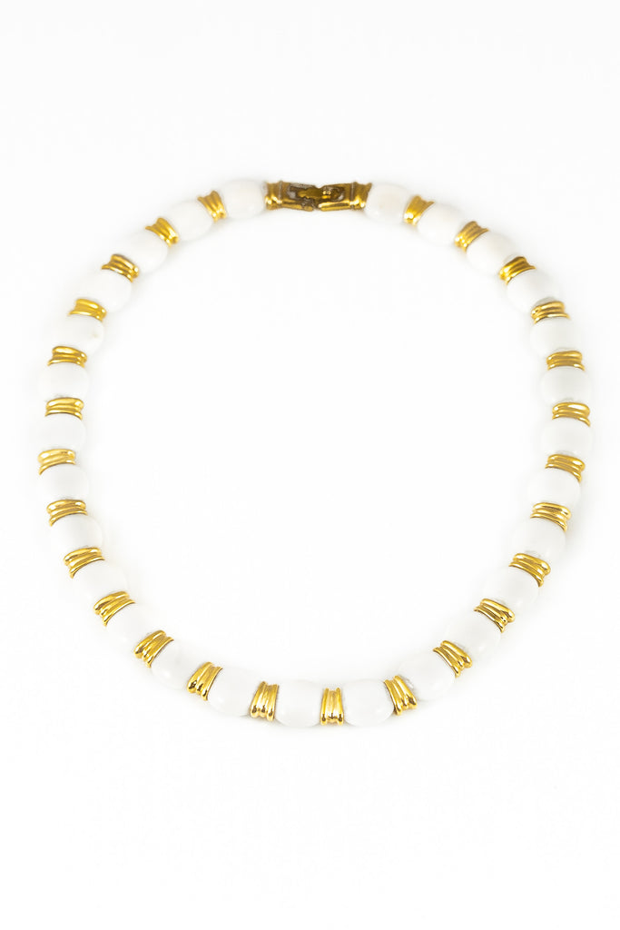 70's__Monet__Short White & Gold Circle Bib Necklace