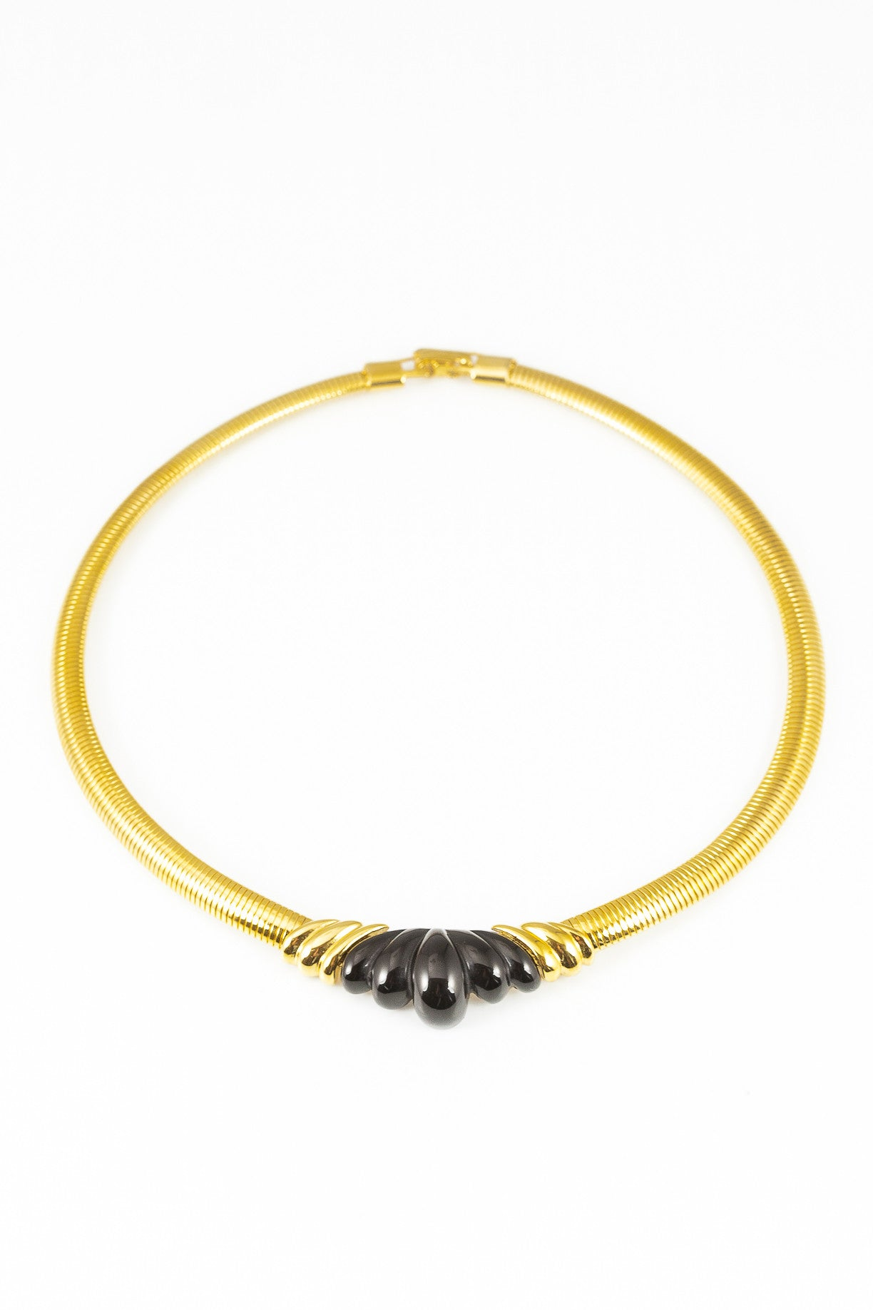 80's__Napier__Black Scalloped Statement Bar Necklace