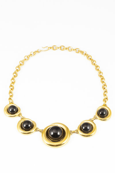 80's__Monet__Black & Gold Circle Statement Necklace