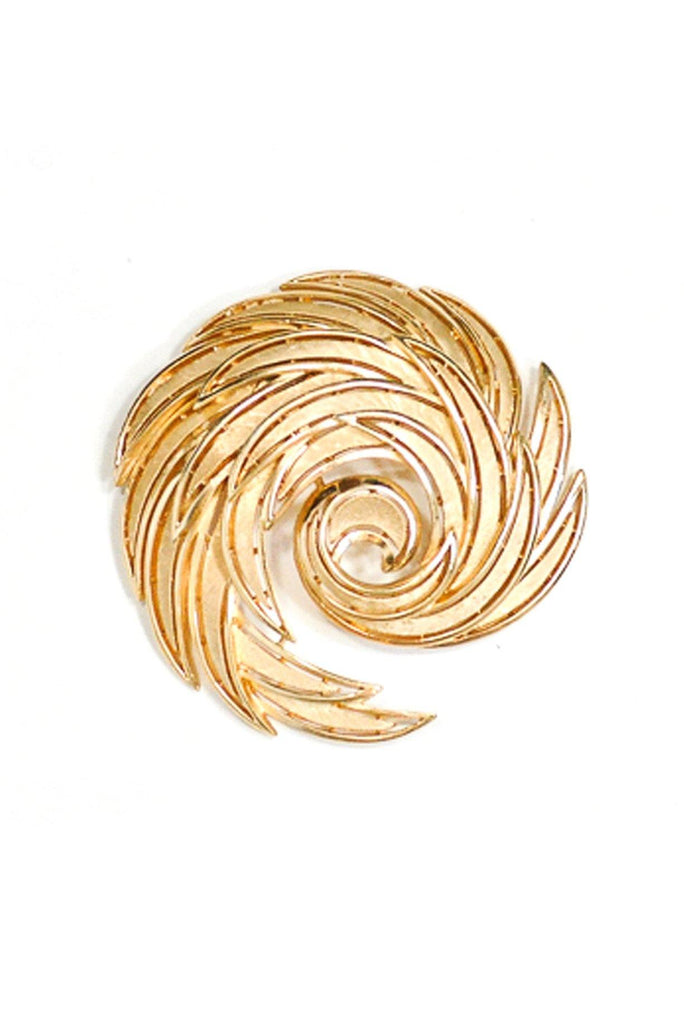 50's__Trifari__Etched Swirl Brooch