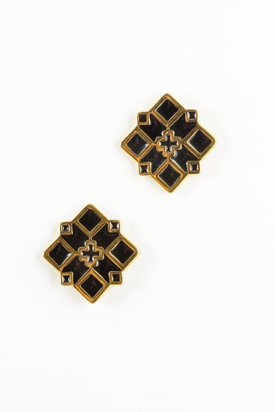 80's__Monet__Diamond X Statement Earrings