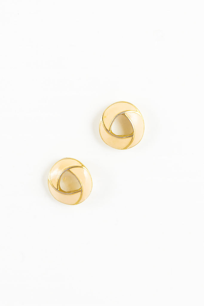 70's__Trifari__Mini Cream Open Circle Stud Earrings