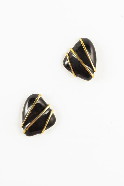 60's__Monet__Black Abstract Triangle Statement Studs