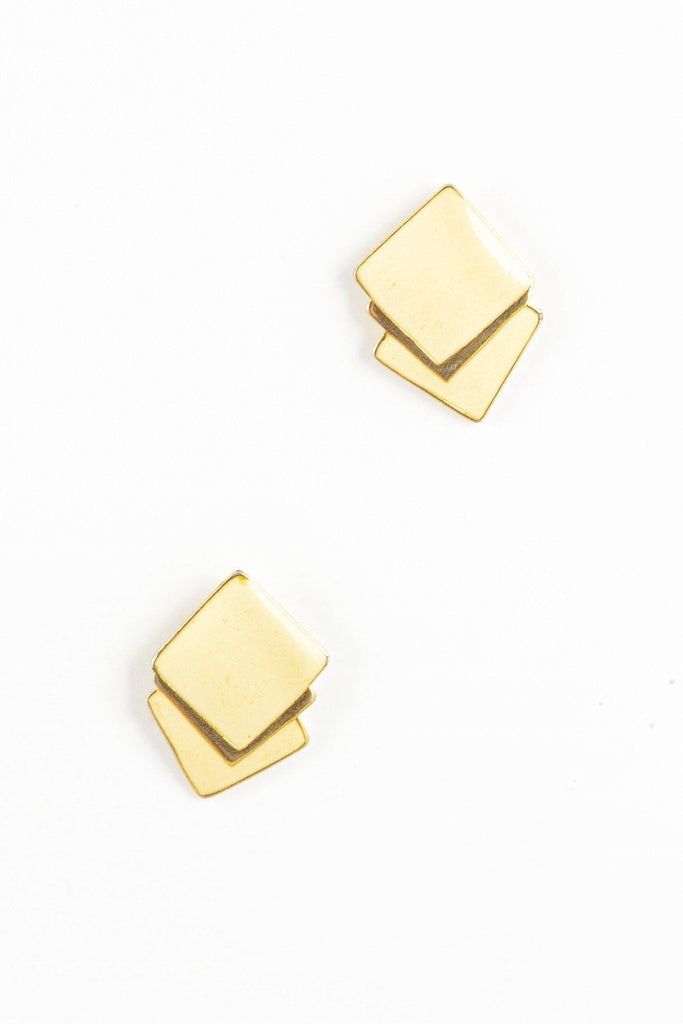 40's__Trifari__Flat Cream Squares Earrings