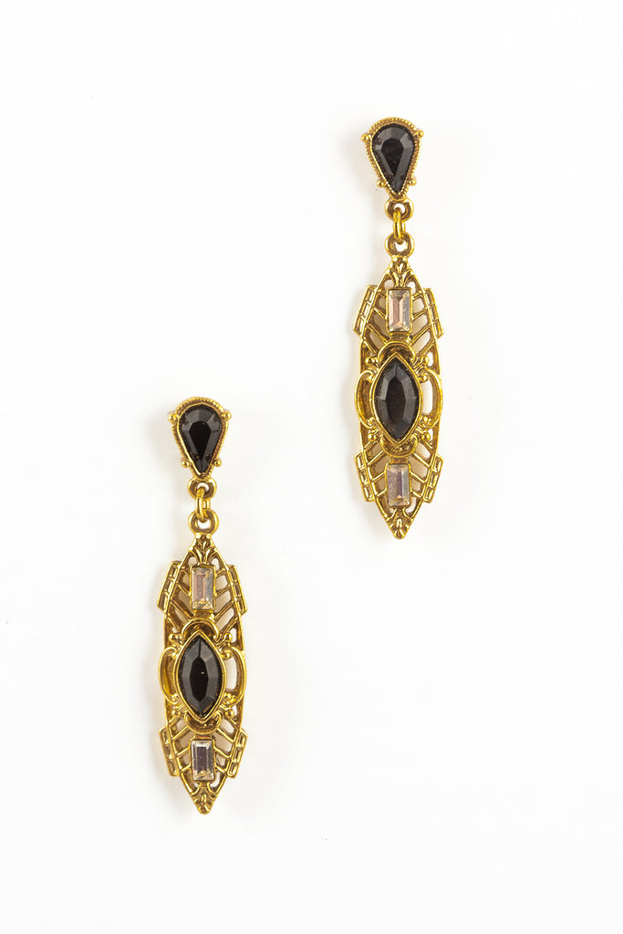 80's__Vintage__Long Oval Drop Rhinestone Earrings