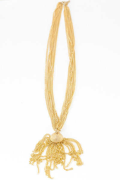 70's__ Sarah Coventry__Classic Multi Chain Tassel Necklace