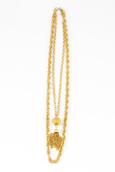 70's__Vintage__Double Chain Tassel Necklace