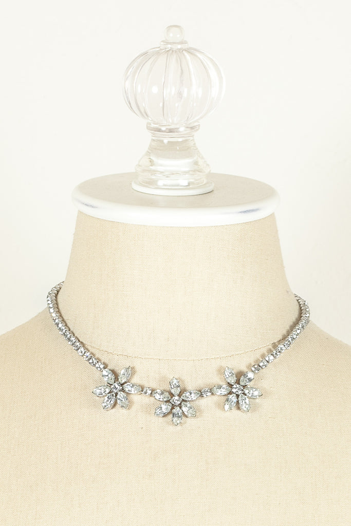 60's__Kramer__Rhinestone Flower Necklace