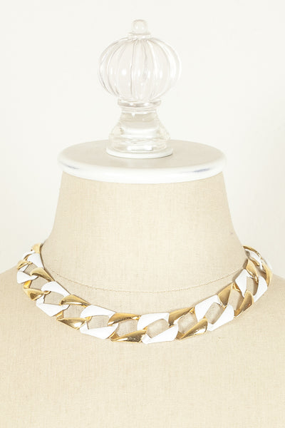 70's__Vintage__White & Gold Link Chain Necklace