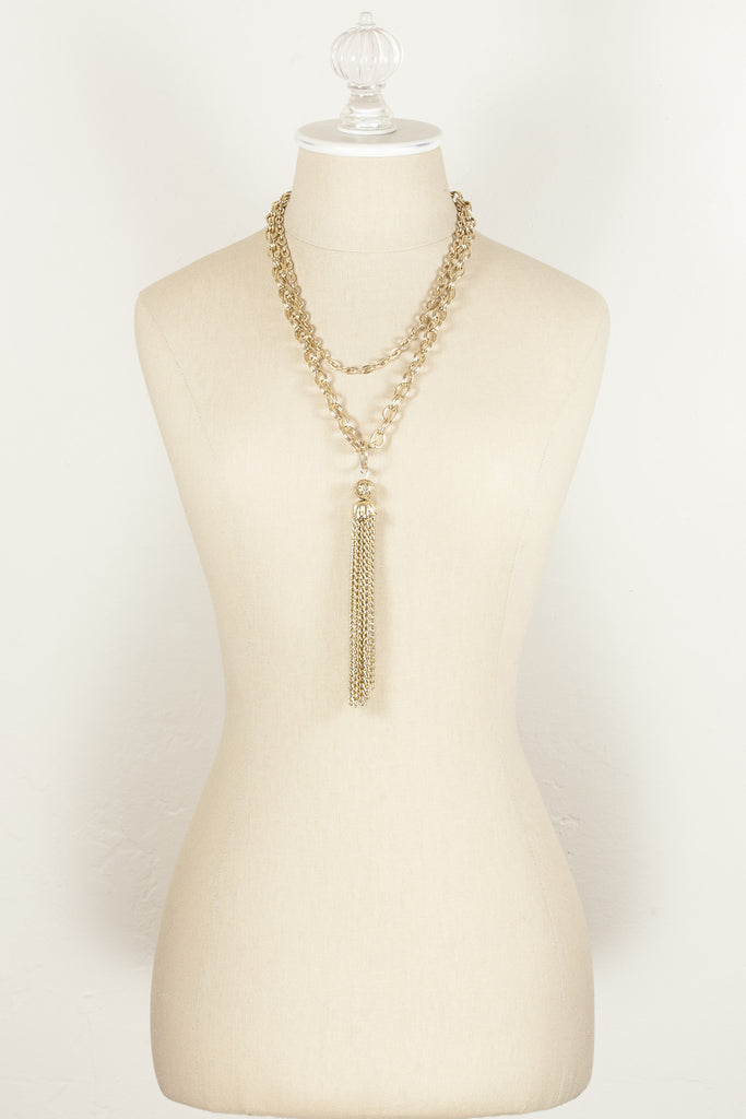 60's__Vintage__Double Chain Tassel Necklace
