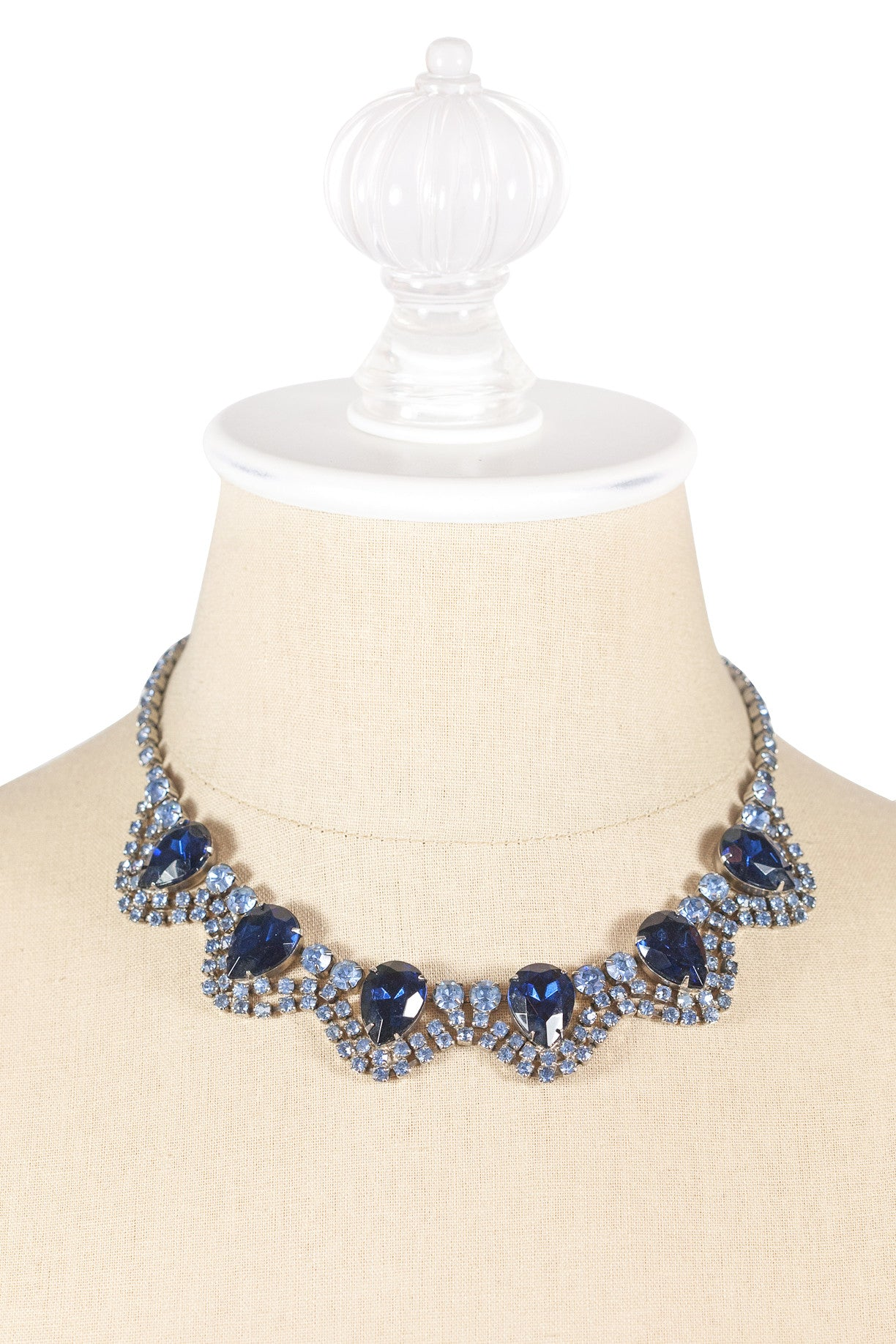 50's__Vintage__Blue Rhinestone Bauble Necklace