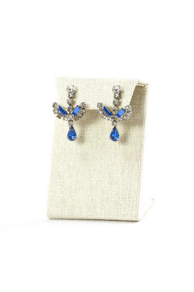 60's__Vintage__Blue Rhinestone Earrings