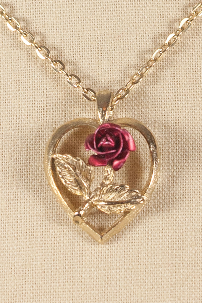 50's__Vintage__Heart Rose Pendant Necklace