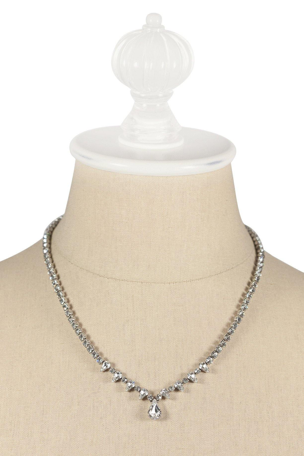 50's__Kramer__Edgy Rhinestone Drop Necklace