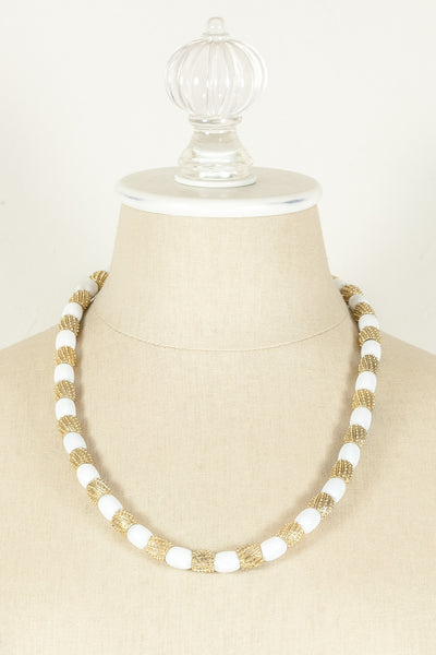 60's__Trifari__Textured Gold & White Bead Necklace