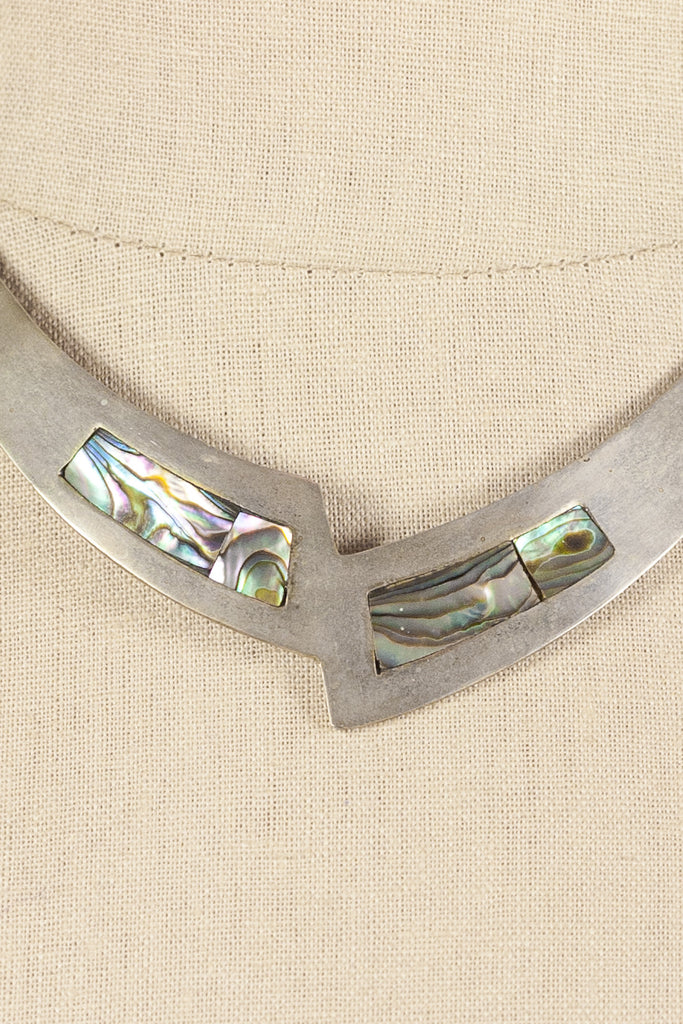 60's__Alpaca Mexico__Abaolone Choker Necklace