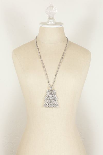 70's__Trifari__Bold Silver Pendant Necklace