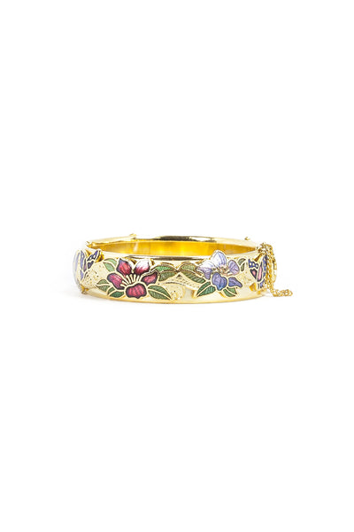 60's__Vintage__Floral Cloisonne Bangle