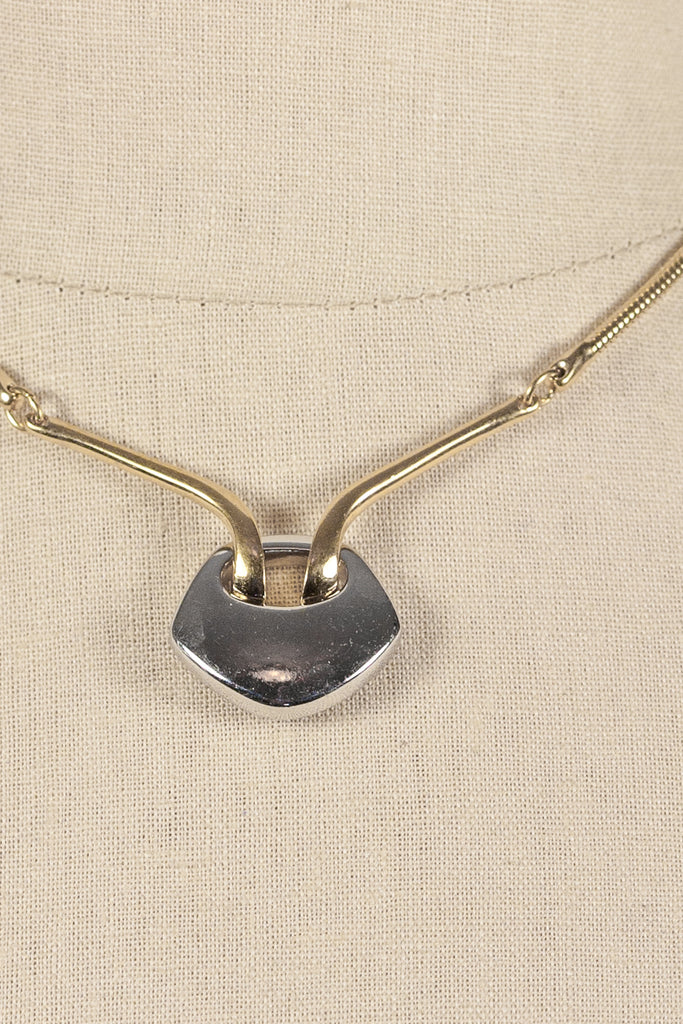 60's__Vintage__Mixed Metals Bar Necklace