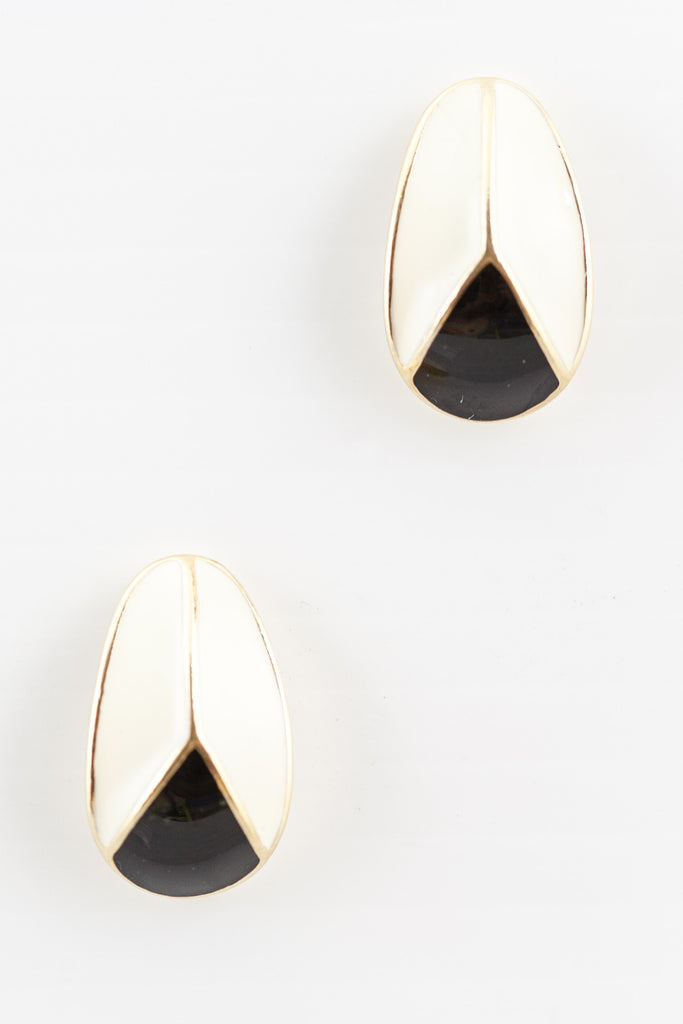 70's__Trifari__Neutral Blocked Oval Earrings