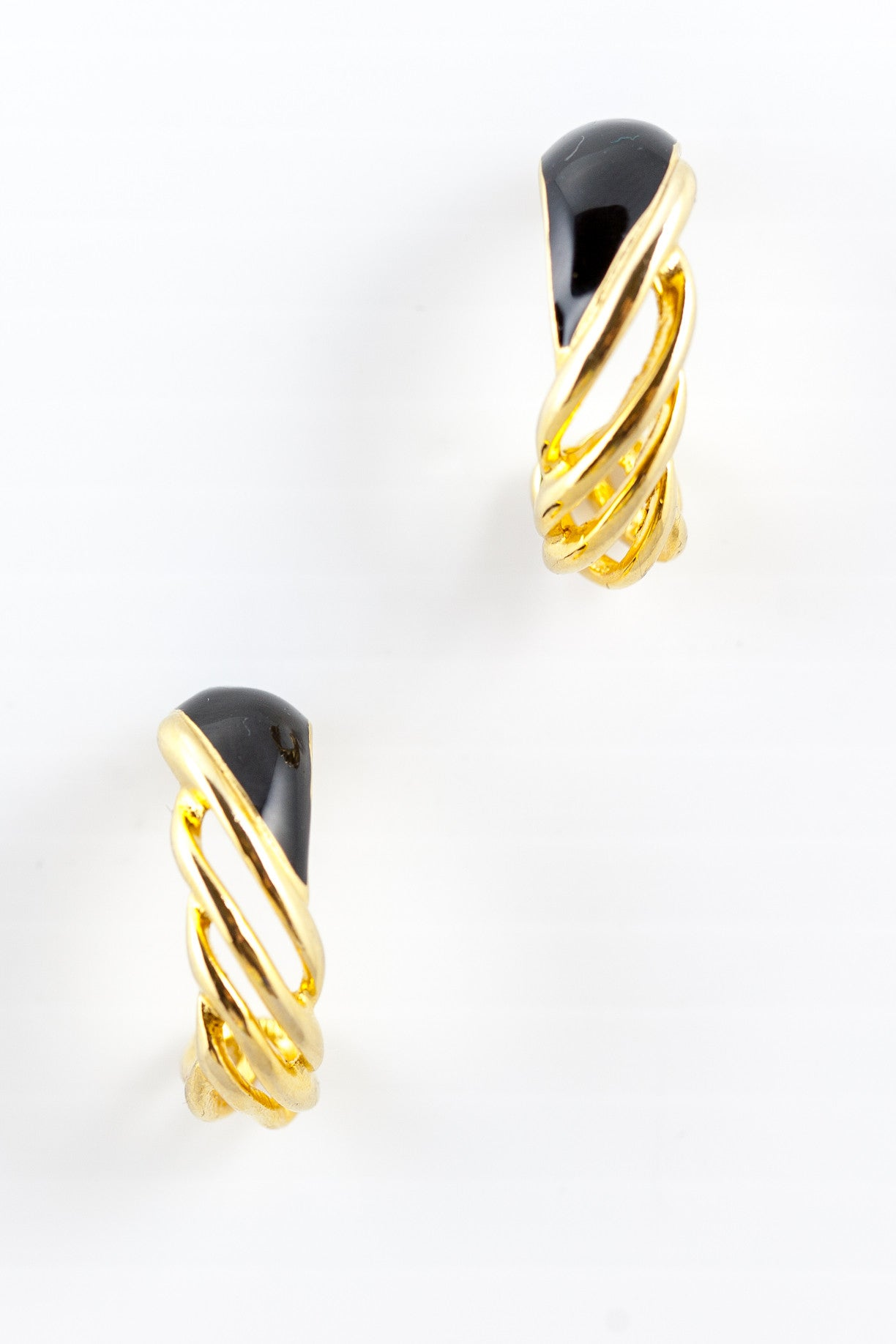 90's__Vintage__Edgy Twisted Half Hoop Earrings