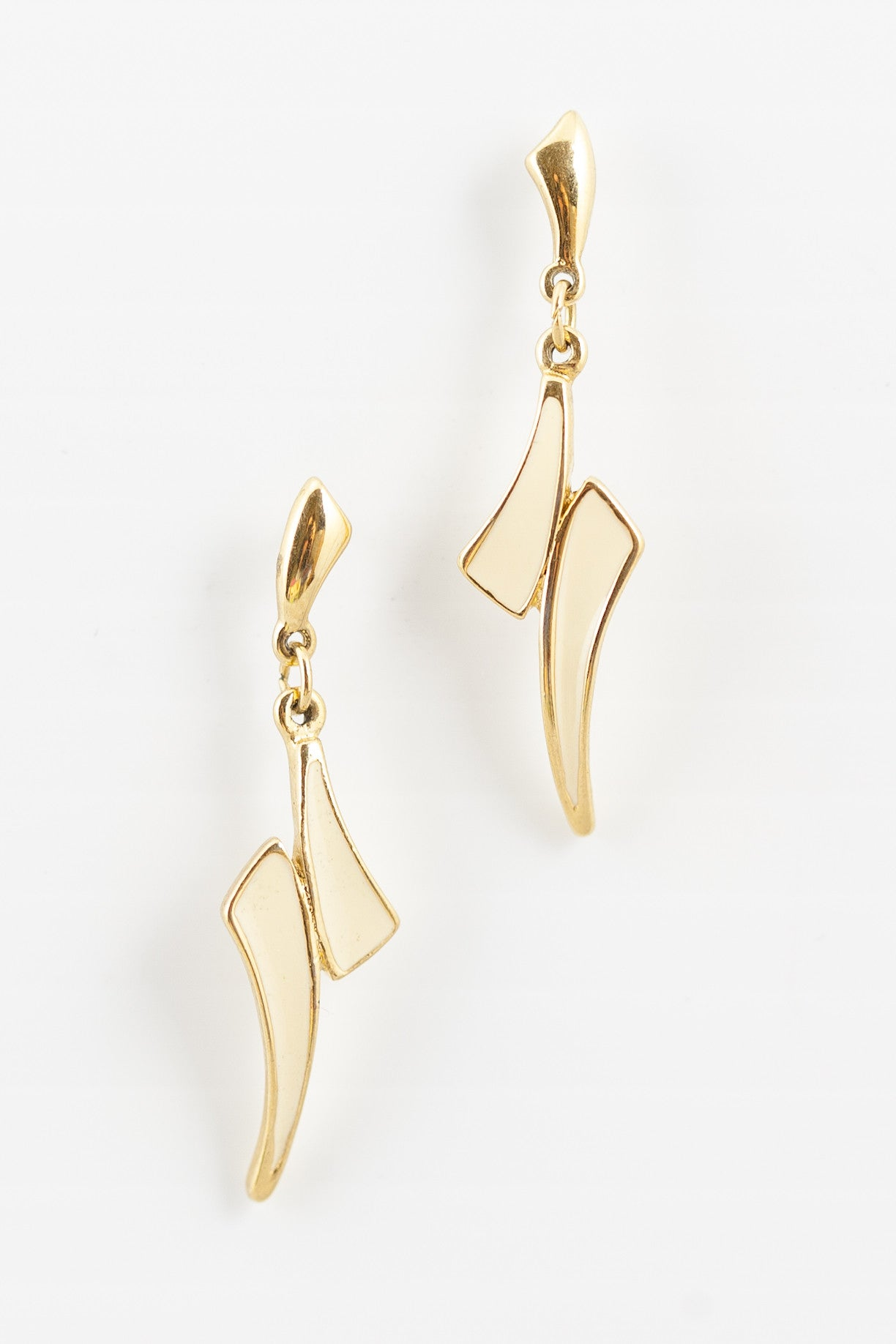 70's__Trifari__Cream & Gold Dangle Earrings