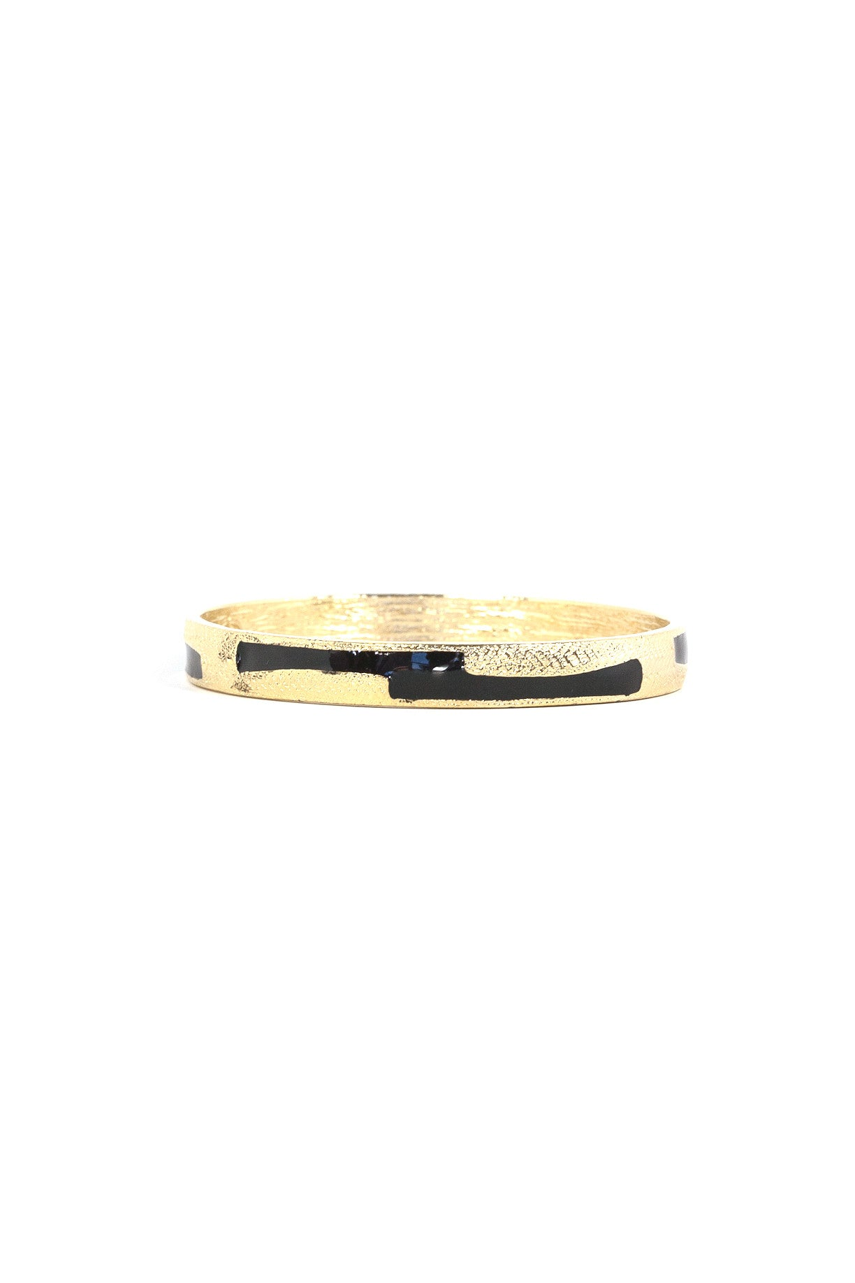 70's__Trifari__Black & Gold Enamel Bangle