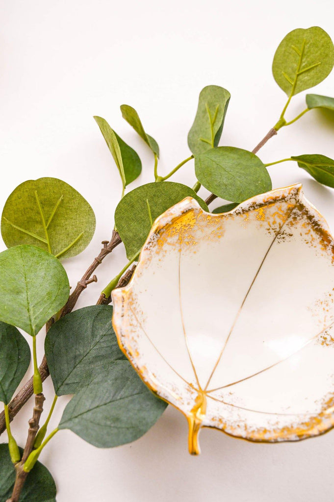 Gold Foil Leaf Trinket Dish