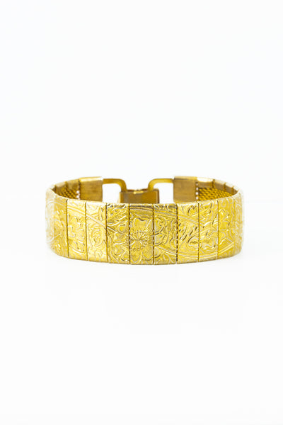 70's__Sarah Coventry__Flower Etched Story Bracelet