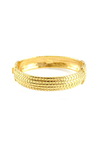 80's__Kenneth Jay Lane__Textured Gold Bracelet