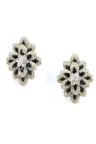 80s__Vintage__Floral Rhinestone Crawler Clip-On Earrings