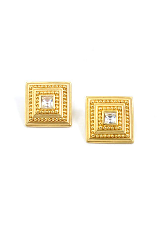 80s__Vintage__Chunky Square Pierced Earrings