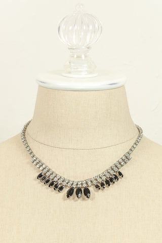 60's__Vintage__Black Rhinestone Fringe Necklace