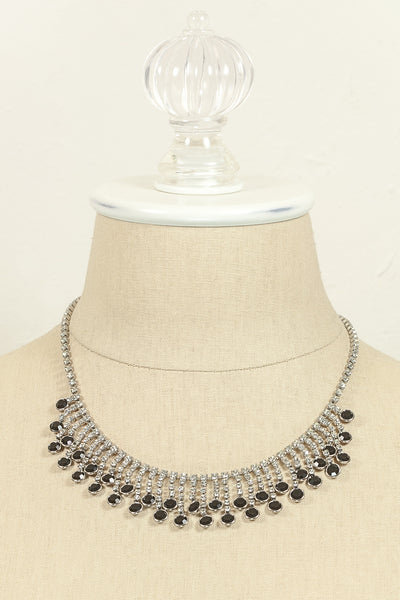 Vintage Black Rhinestone Fringe Necklace