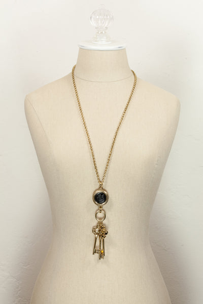 Vintage Joan Rivers Medallion Key Pendant Necklace