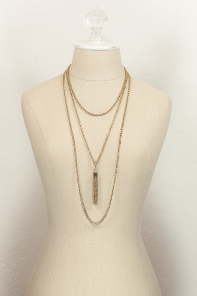70's__Emmons__Triple Chain Tassel Necklace