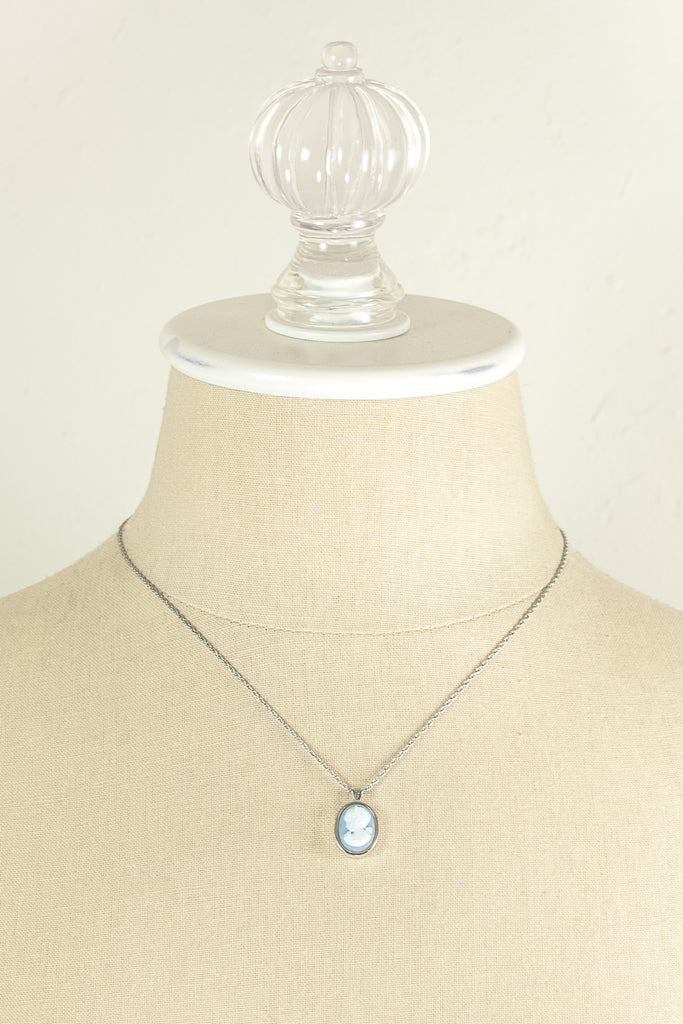 70's__Trifari__Dainty Cameo Charm Necklace