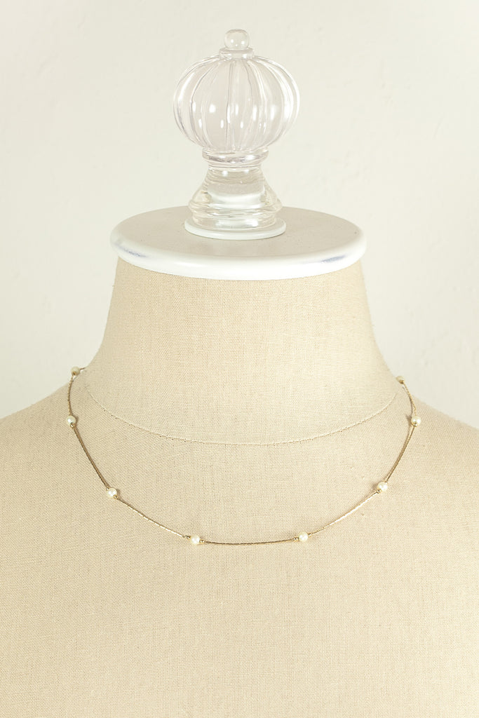 70's__Monet__Dainty Pearl Chain Necklace
