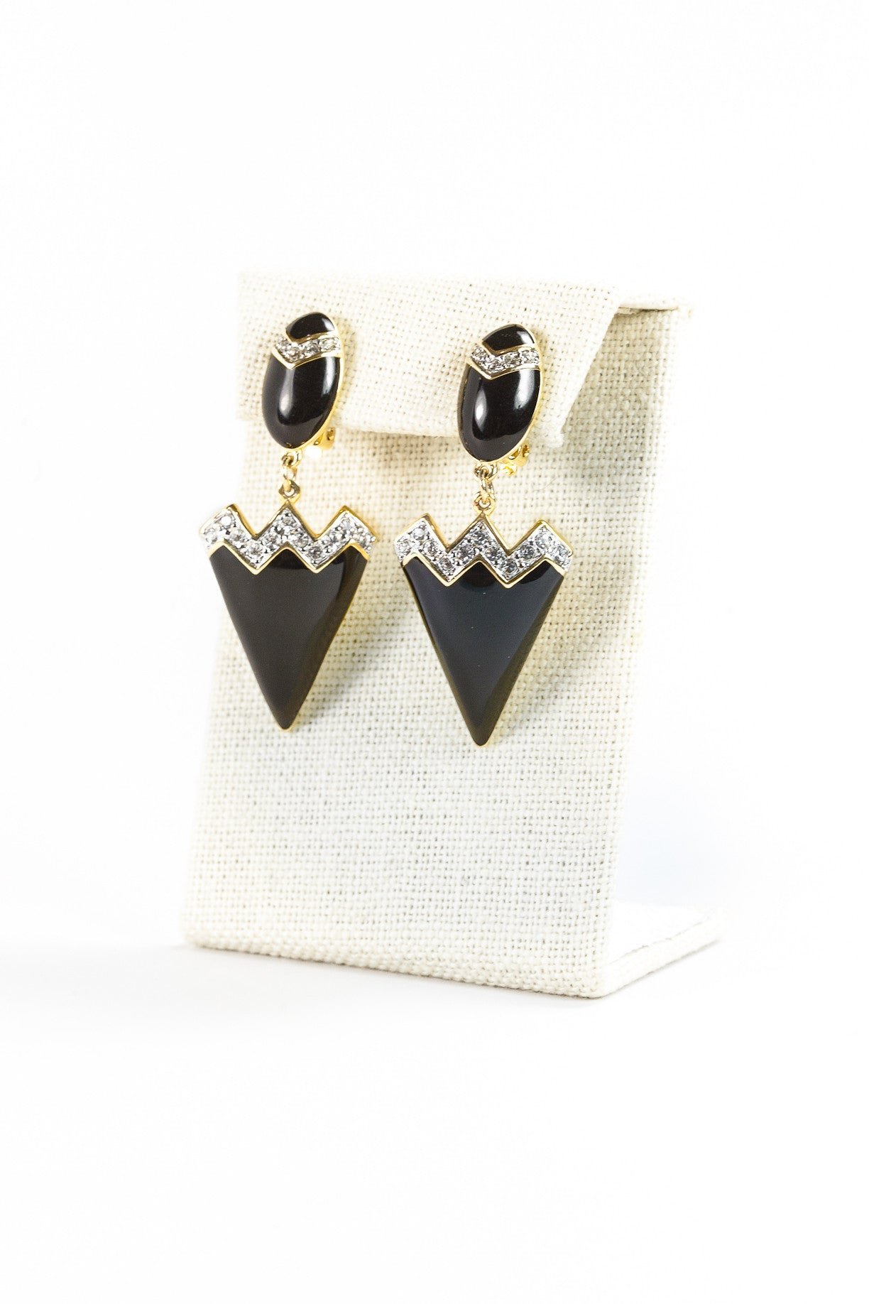 70's__Vintage__Black Triangle Rhinestone Clip On Earrings