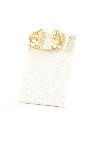 Vintage Sarah Coventry Gold Leaf & Pearl Clip On Earrings
