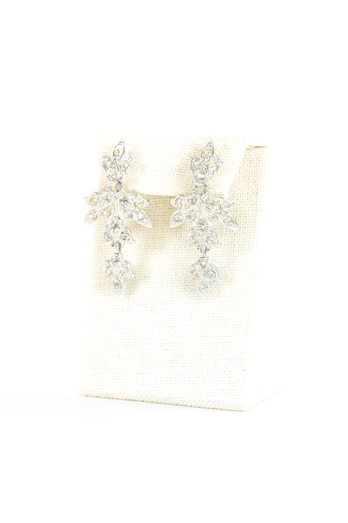 60's__Sarah Coventry__Rhinestone Leaf Drop Earrings