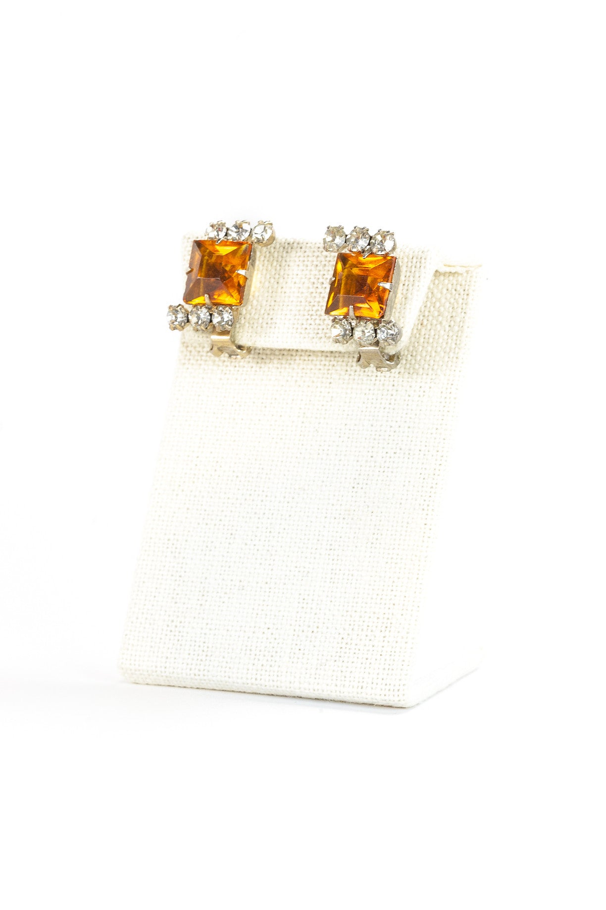 60's__Vintage__Square Amber Rhinestone Clips